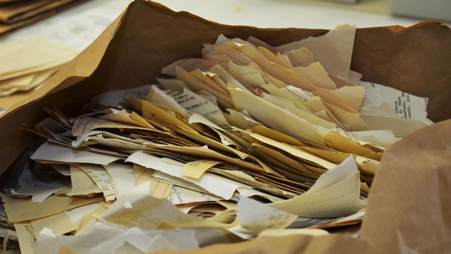 Hand-torn documents in the Stasi Records Archive., Source:                 BStU