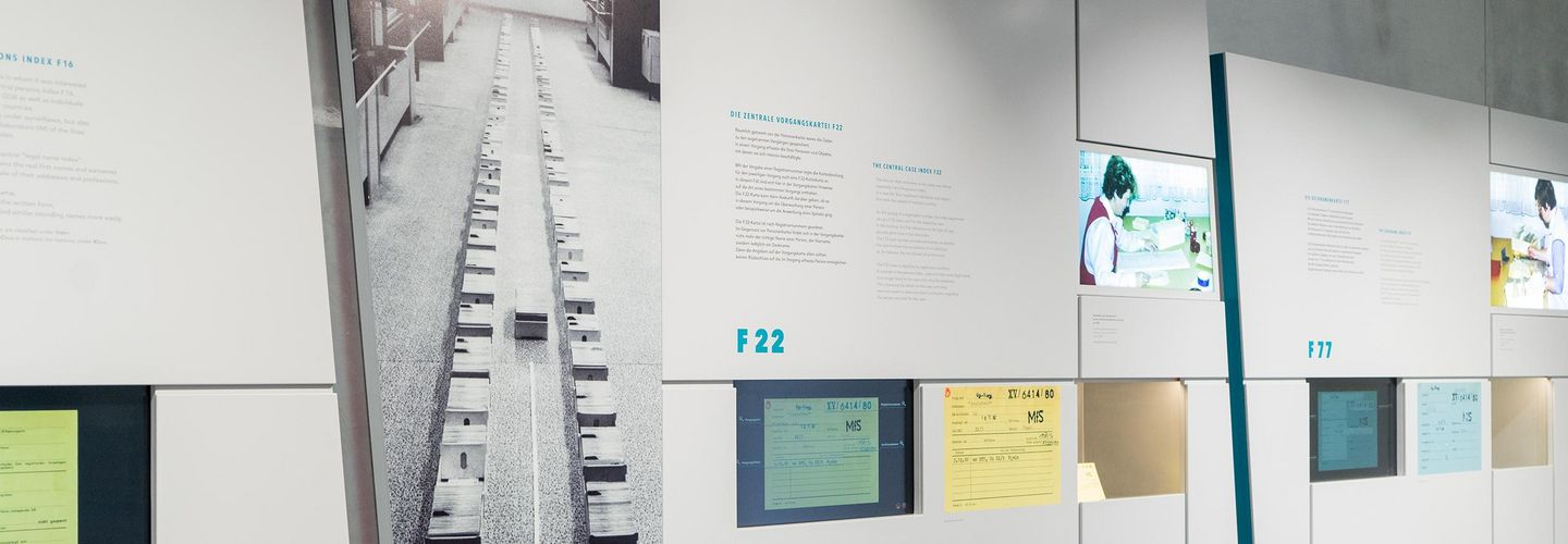 state security had over 41 million index cards. The exhibition shows, how they were used.