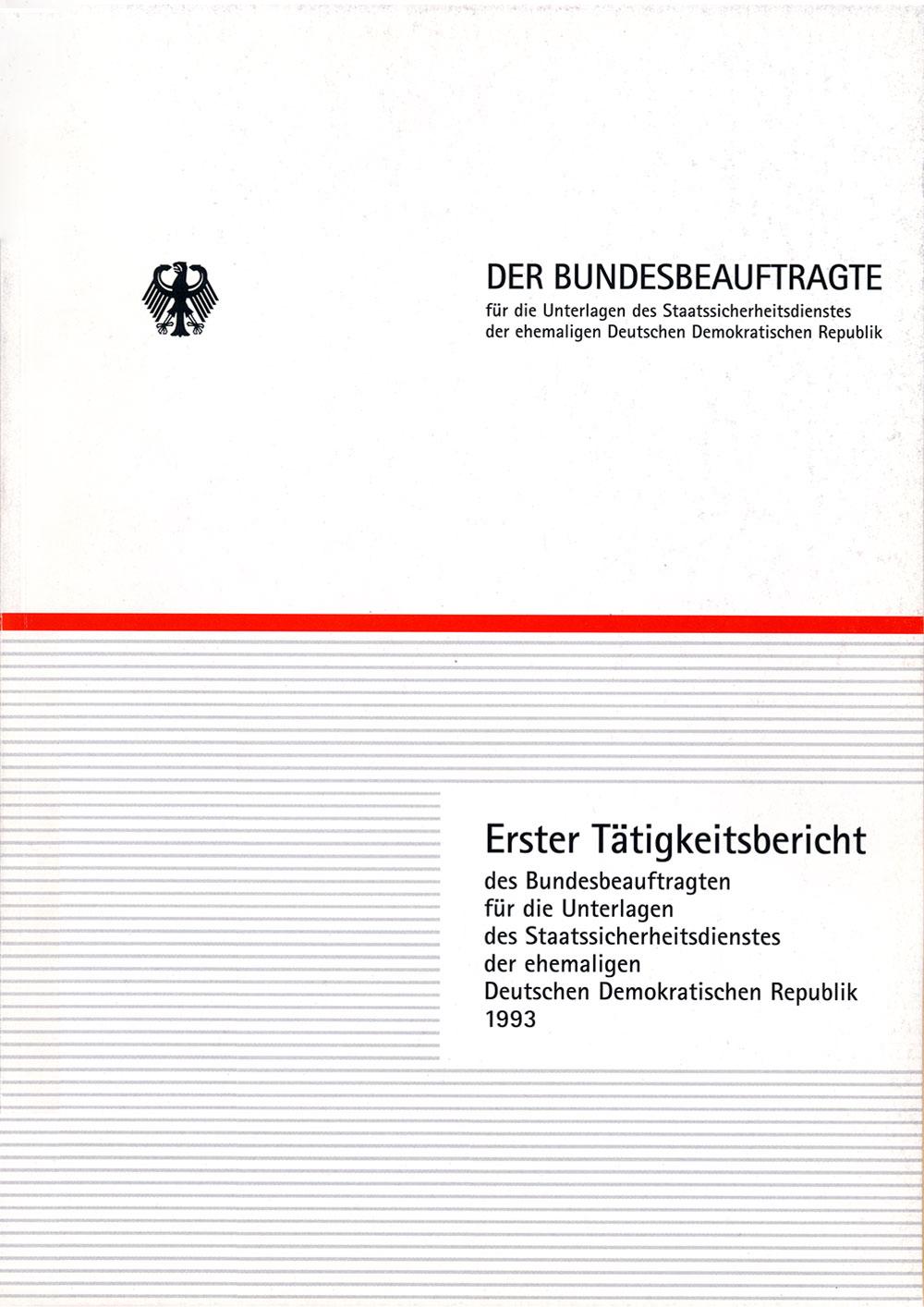 Titelblatt des ersten Tätigkeitsberichts des BStU