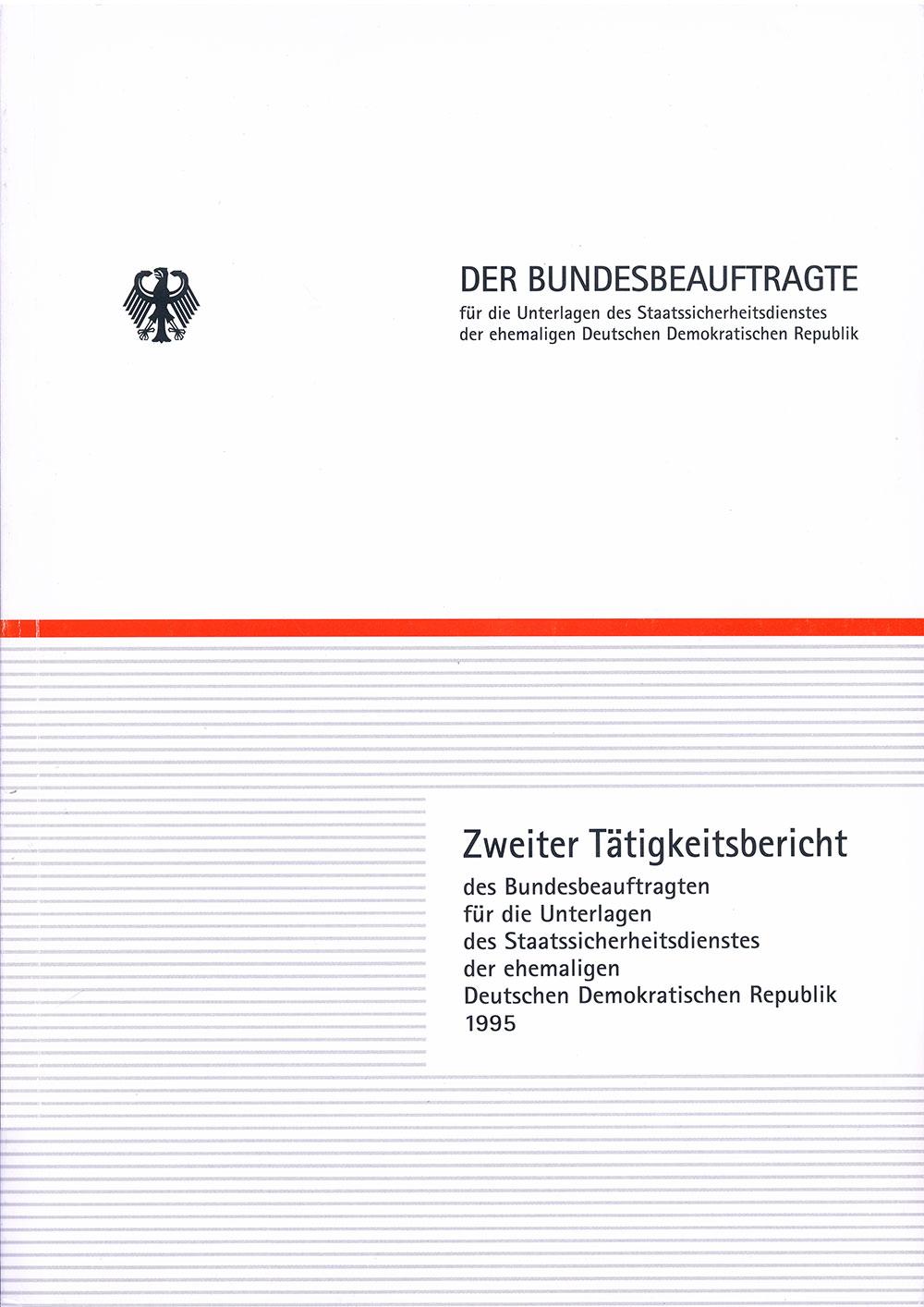 Titelblatt des zweiten Tätigkeitsberichts des BStU