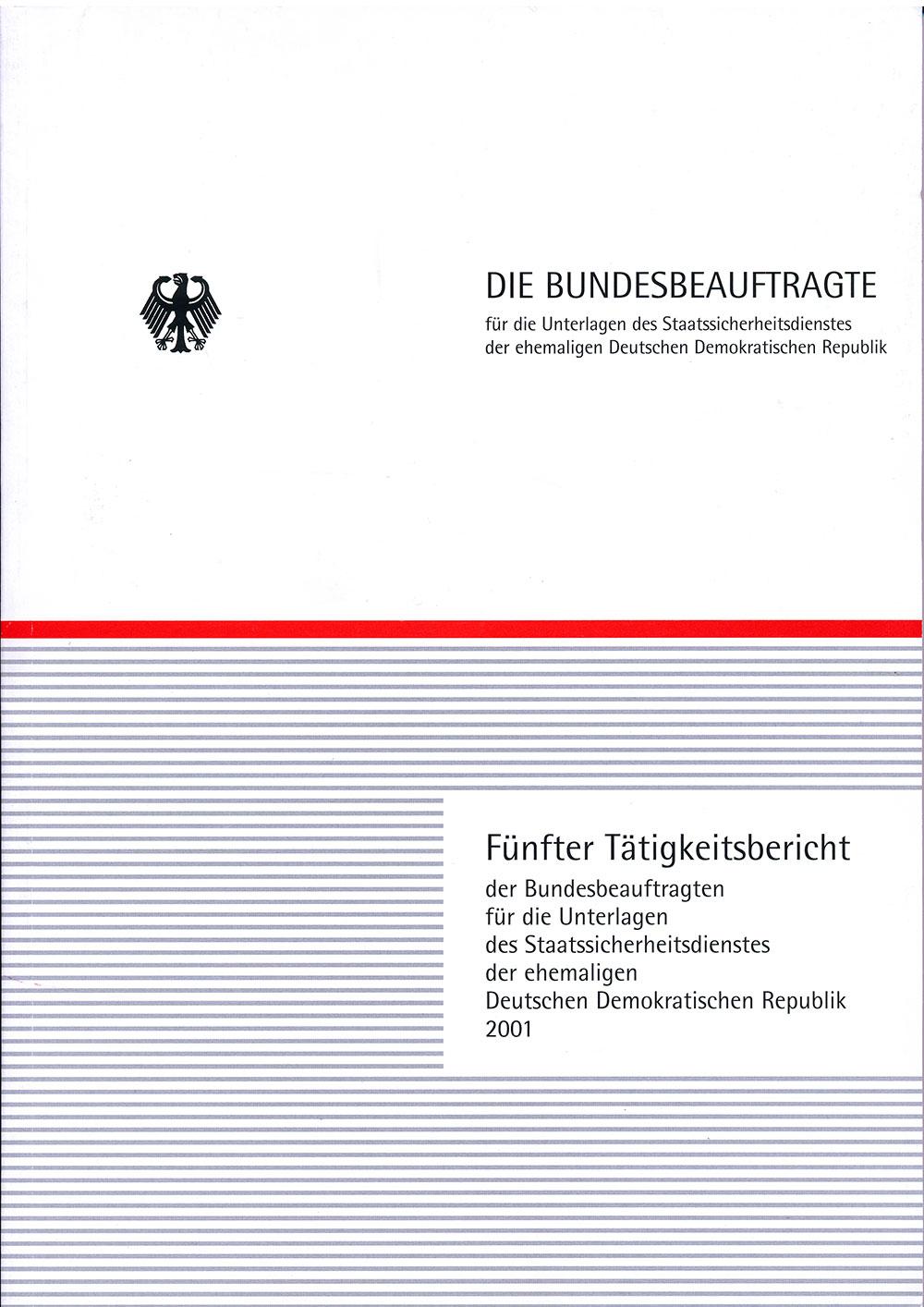 Titelblatt des fünften Tätigkeitsberichts des BStU
