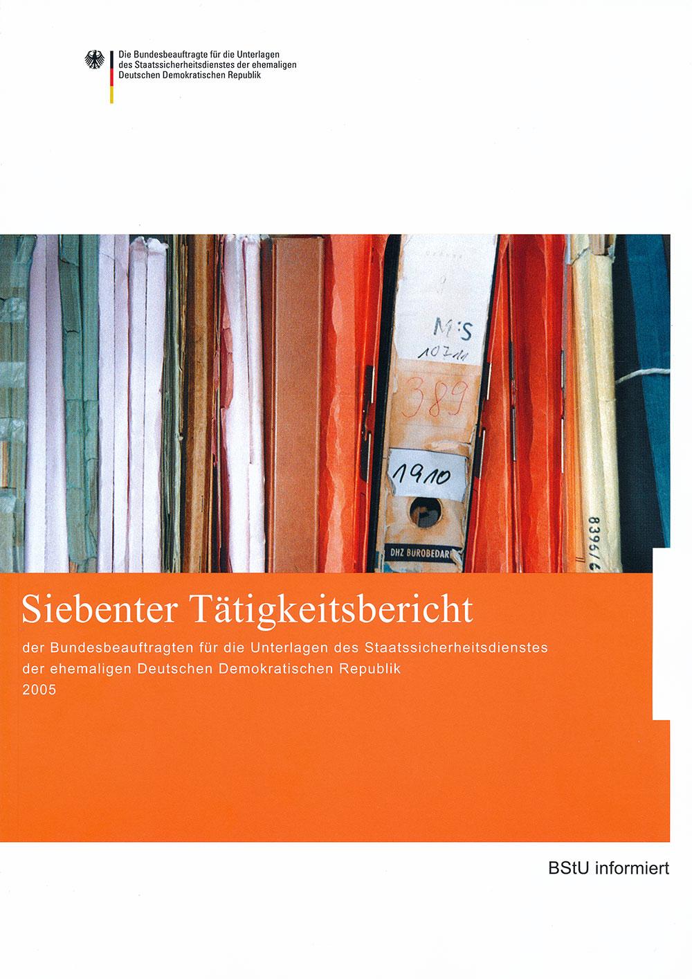 Titelblatt des siebten Tätigkeitsberichts der BStU