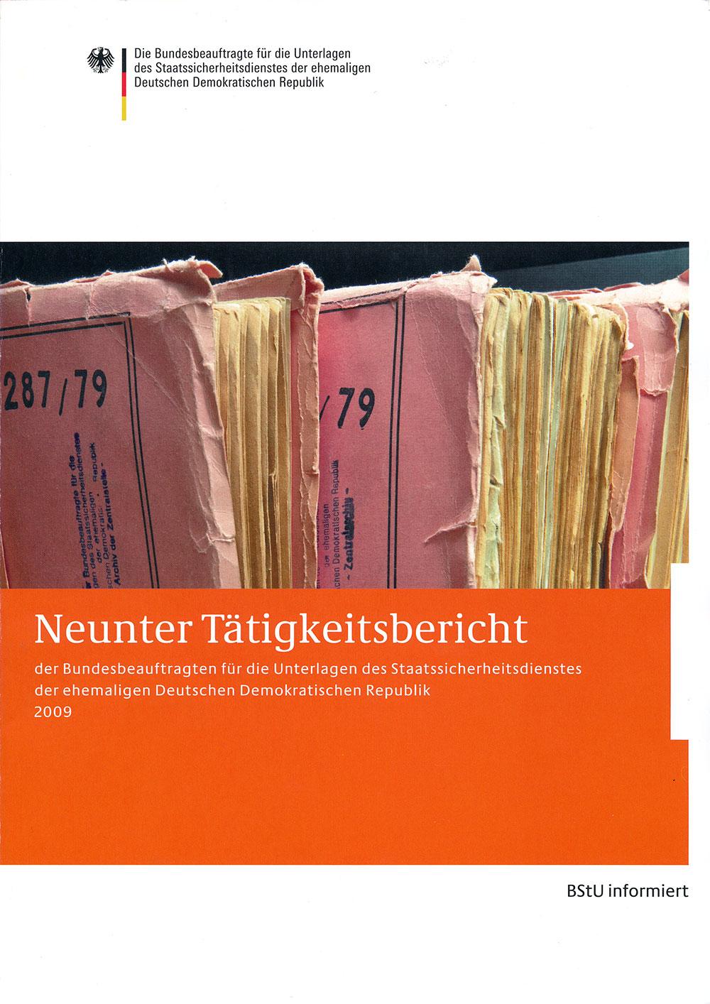 Titelblatt des neunten Tätigkeitsberichts der BStU