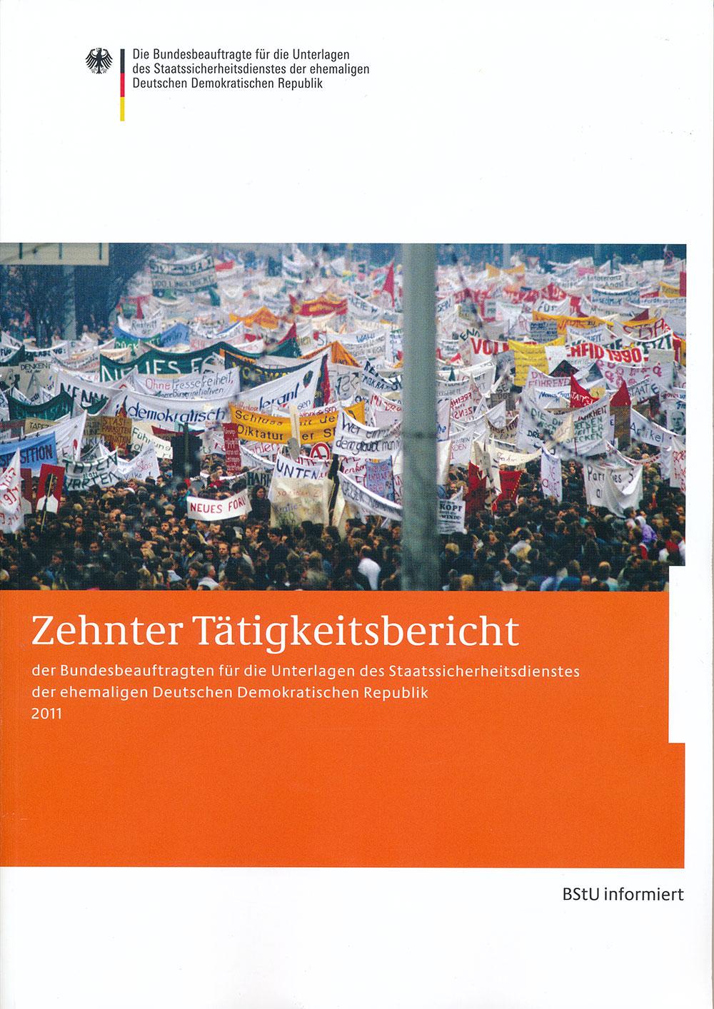 Titelblatt des zehnten Tätigkeitsberichts der BStU