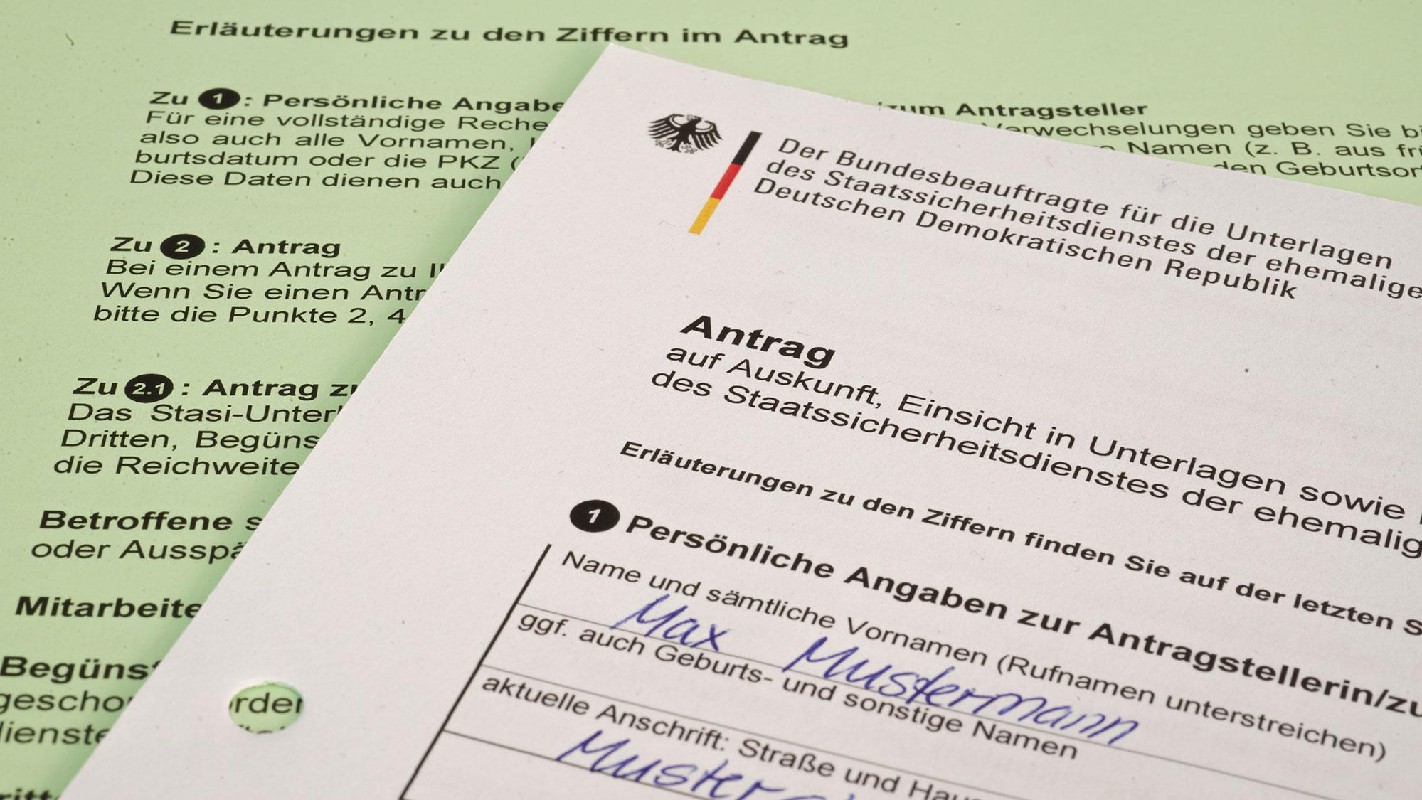 Formular für den Antrag auf persönliche Akteneinsicht