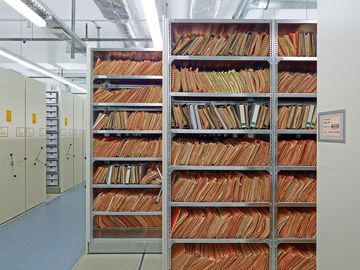 One of the many shelves in the BStU Archives Berlin