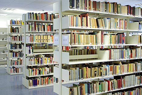 Shelves of the library. The library of the Stasi Records Agency is open to the public.