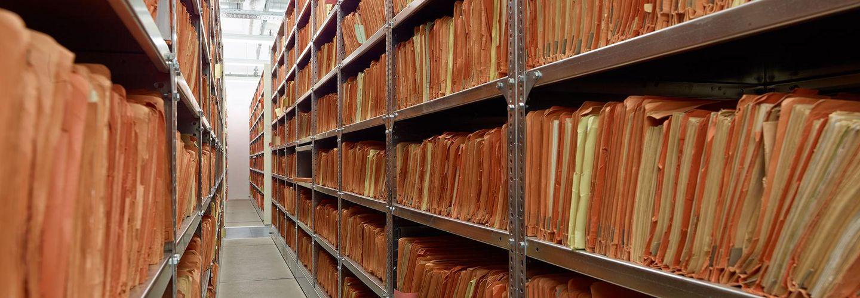 Shelves in the archive in Berlin.