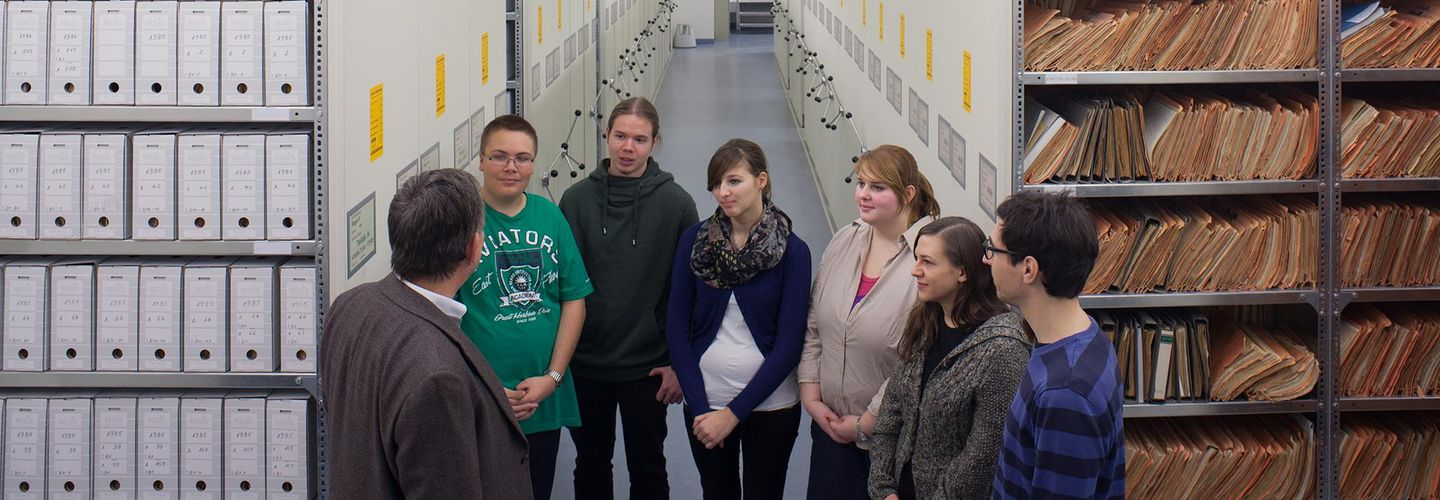 A group of Pupils in the Stasi Archive in Berlin.