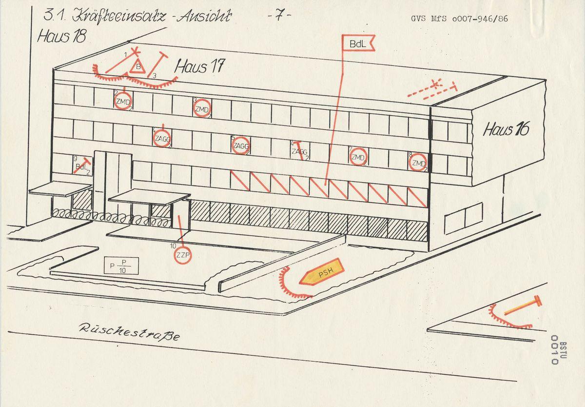 Die 'Skizze zum Kräfteeinsatz' am Tor zur Ruschestraße der Stasi-Zentrale zeigt, wie massiv die Verteidiger ihre Stellung ausbauen wollten