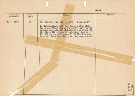 Meldung über eine geplante Demonstration des Neuen Forums vor der Stasi-Zentrale