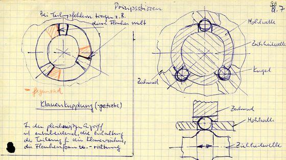 Ein kariertes Blatt mit handschriftlichen Notizen und Skizzen zur Funktionsweise von Getrieben.