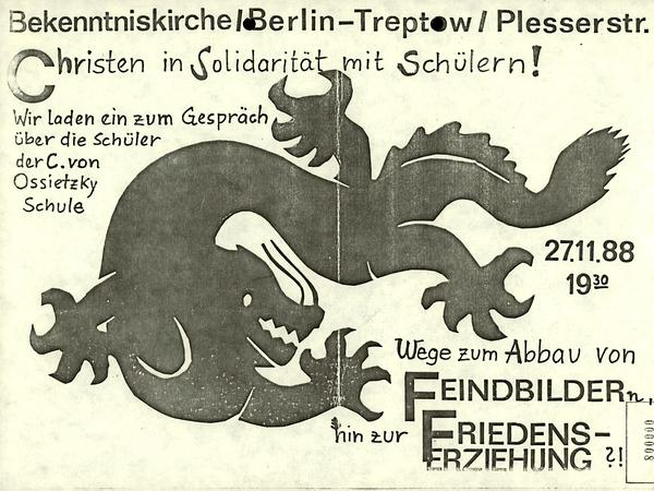Plakat mit der Ankündigung einer Solidaritätsveranstaltung am 27. November 1988 der Bekenntniskirche Berlin-Treptow