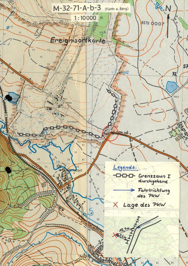 'Ereignisortkarte' der Stasi mit genauen Eintragungen zum Unfallhergang und zur Lage des Unfallwagens im Grenzgebiet. Der Unfallort lag unmittelbar an der damaligen innerdeutschen Grenze.