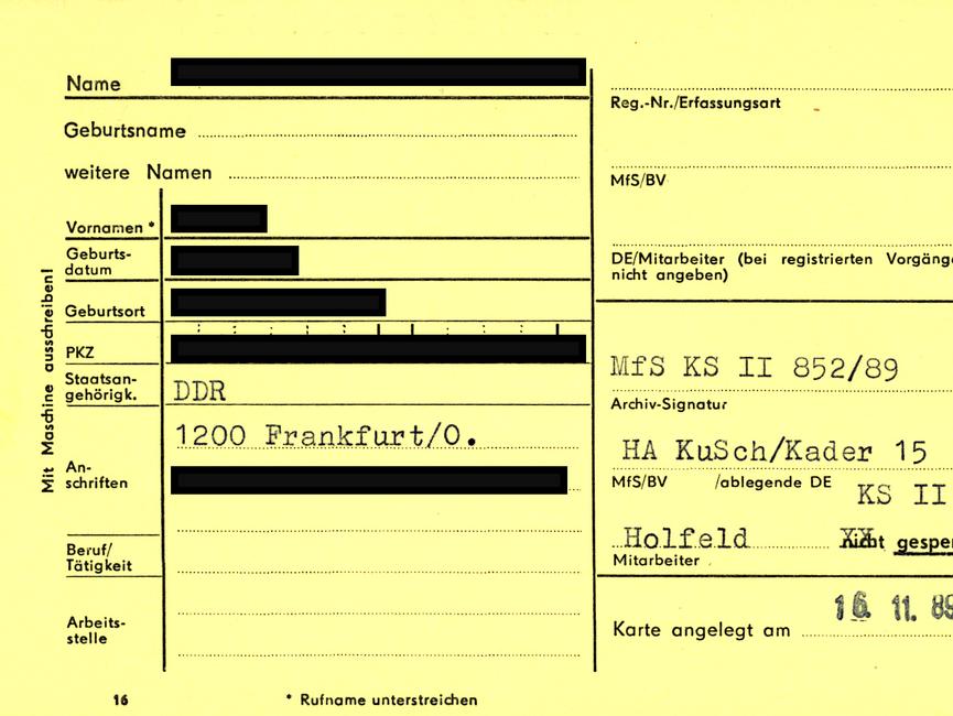 Formblatt 'F 16' aus der Disziplinarkartei der Hauptabteilung Kader und Schulung