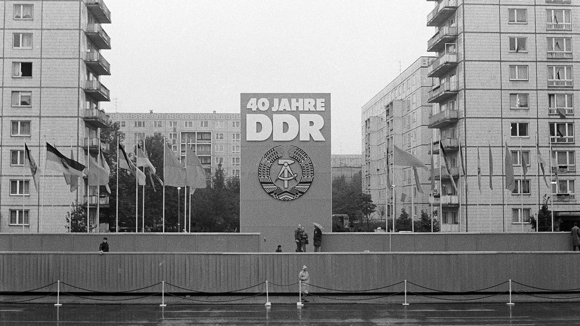 Bühnefürdie Feierlichkeitenzum40. Jahrestag derGründung derDDR am 7. Oktober1989