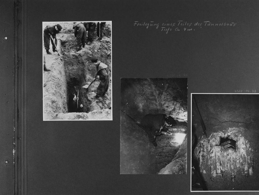 [handschriftliche Ergänzung: Freilegung eines Teiles des Tunnelbaus Tiefe ca. 4m.]  [Bild 1: Vier Männer mit Spaten und Schaufeln stehen auf unterschiedlichen Höhen und sind dabei, ein Loch auszuheben. Ein sechster steht in diesem rechteckigen Loch, was so tief ist, dass es ihm bis über den Kopf reicht.]  [Bild 2: In das ausgehobene Rechteck hinein fotografiert sieht man einen Mann, der auf einem rundlichen Metallbogen kauert und dabei ist, einen Einstieg zu schweißen. Er trägt eine Schweißerbrille.]  [Bild 3: In die rechteckige Einstiegsluke ragen noch zwei Streben des Bleches, in die sie geschweißt wurde. Der freigelegte Bereich ist umgeben von Sand.]