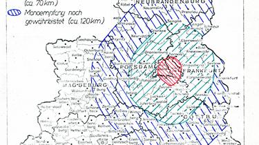 Auf einer Karte markierter Verbreitungsradius des Senders Radio Glasnost