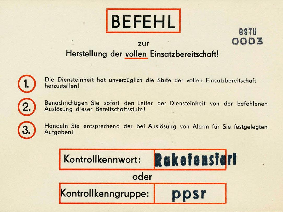 In einem versiegelten Umschlag hinterlegter Befehl zur Herstellung der vollen Einsatzbereitschaft von 1989