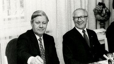 Helmut Schmidt und Erich Honecker beim Staatsbesuch des Bundeskanzlers in der DDR