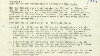 Vermerk über das Entlassungsgespräch von Erich Mielke