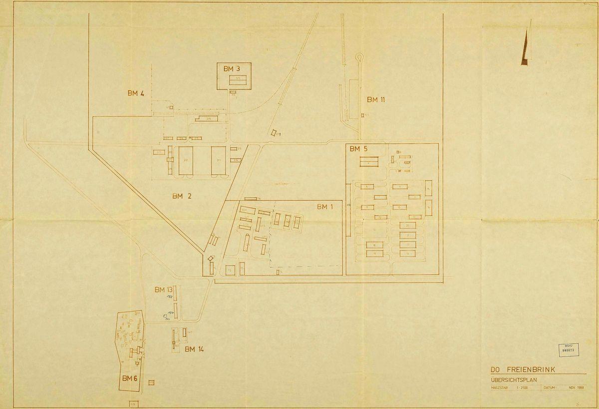Das Bild zeigt einen Übersichtsplan des Dienstkomplexes Freienbrink.