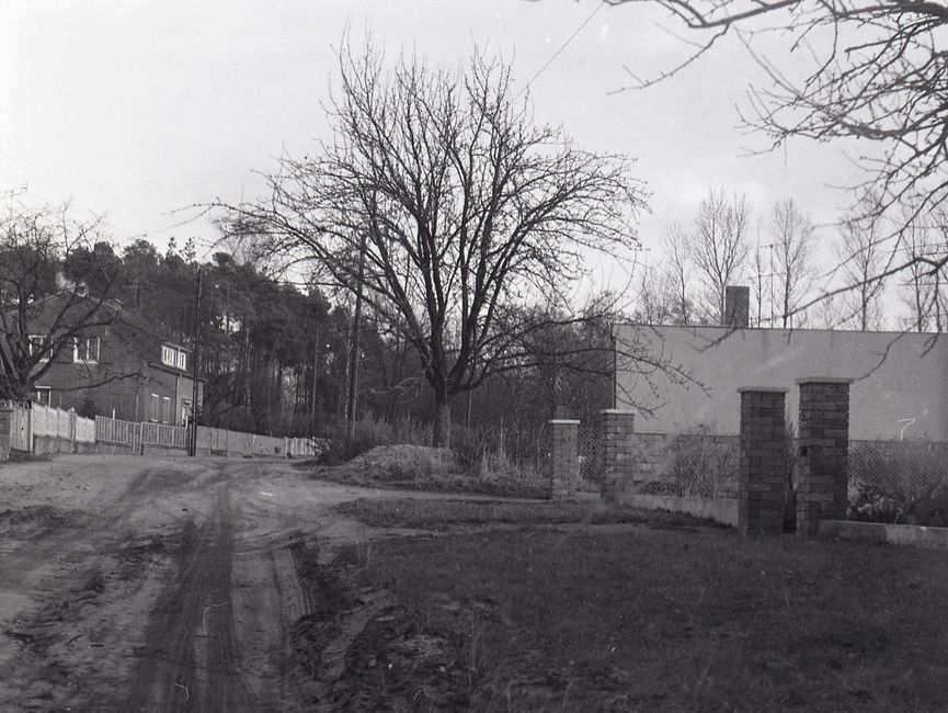 [Die schwarz-weiße Fotografie wurde durch die Windschutzscheibe eines Fahrzeuges geschossen. Links führt eine unbefestigte Straße entlang zu einem Doppelhaus. Auf der rechten Seite befindet sich ein Seitenstreifen mit einigen Bäumen und ein kleines Gebäude. Bei dem Gebäude könnte es sich um das Haus auf Bild-023 handeln. Im Hintergrund ist ein Wald zu erkennen.]