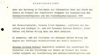 Notizen aus der Politbürositzung zur Schürer-Mittag-Kontroverse