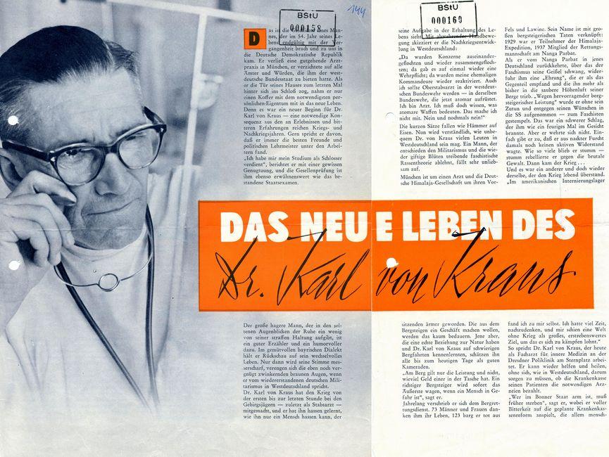 Das Bild zeigt einen längeren Artikel über Karl von Kraus in der DDR Revue.