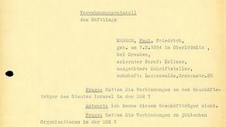 Abschrift des Vernehmungsprotokolls von Paul Merker