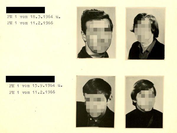 [anonymisiert] PM 1 vom 21.03.1964 u. PM 1 vom Februar 1966  [Zwei schwarzweiß Paßbilder; links mit kurzen Haaren, rechts mit längeren Haaren.]  [anonymisiert] PM 1 vom 18.03.1964 u. PM 1 vom 02.03.1966  [Zwei schwarzweiß Paßbilder; links mit kurzen Haaren, rechts mit längeren Haaren.]  [anonymisiert] PM 1 vom 18.03.1964 u. PM 1 vom 11.02.1966  [Zwei schwarzweiß Paßbilder; links mit kurzen Haaren, rechts mit längeren Haaren.]  [anonymisiert] PM 1 vom 15.09.1964 u. PM 1 vom 11.02.1966  [Zwei schwarzweiß Paßbilder; links mit kurzen Haaren, rechts mit längeren Haaren.]