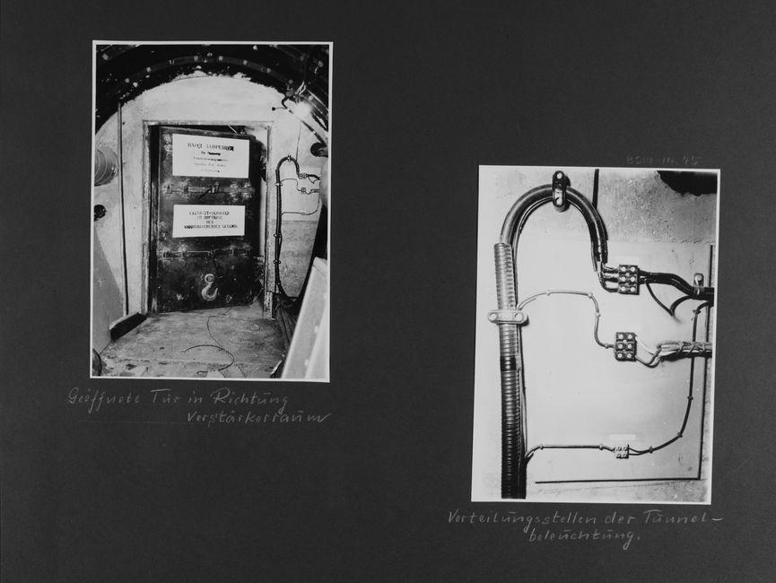 [Bild 1: Eine nach außen öffnende Stahltür wurde ein wenig aufgestoßen. An ihr sind zwei Querriegel sowie zwei Schilder. An der Betonwand links von ihr steht ein Besen, es verlaufen Leitungen auf dem Boden. Auf der rechten Seite verlaufen Rohre und Leitungsstränge.] [handschriftliche Ergänzung: Geöffnete Tür in Richtung Verstärkerraum]  [Bild 2: Aus einem Leitungsschacht zweigen zwei Leitungen auf unterschiedlicher Höhe ab, die dann angeklemmt werden. Eine dritte Klemme nimmt die Leitungen direkt aus der gebogenen Ummantelung ab.] [handschriftliche Ergänzung: Verteilungsstellen der Tunnelbeleuchtung.]