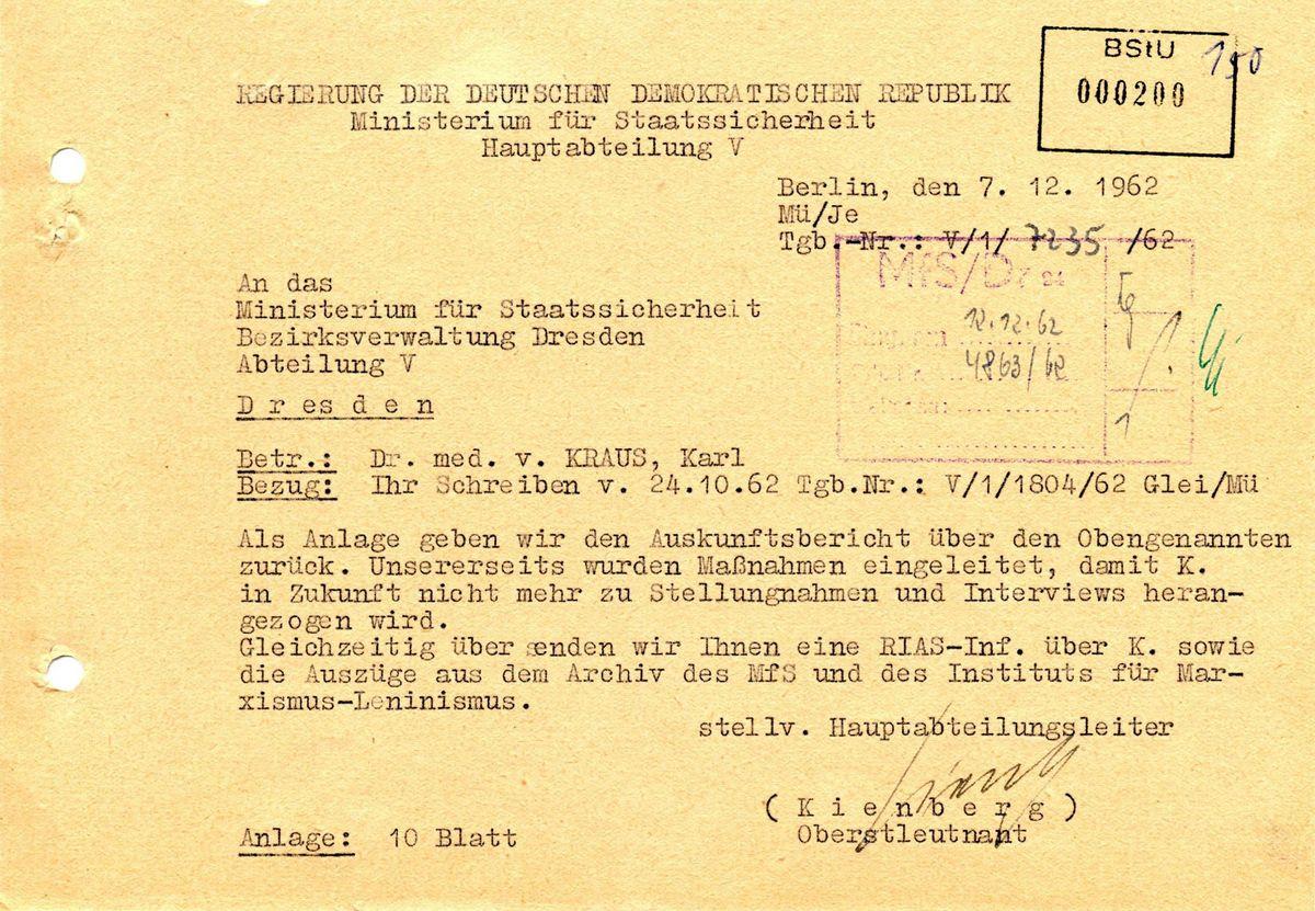 Das Bild zeigt ein Dokument: Die Hauptabteilung V schreibt an die Bezirksverwaltung Dresden, dass Karl von Kraus keine weiteren interviews geben darf.