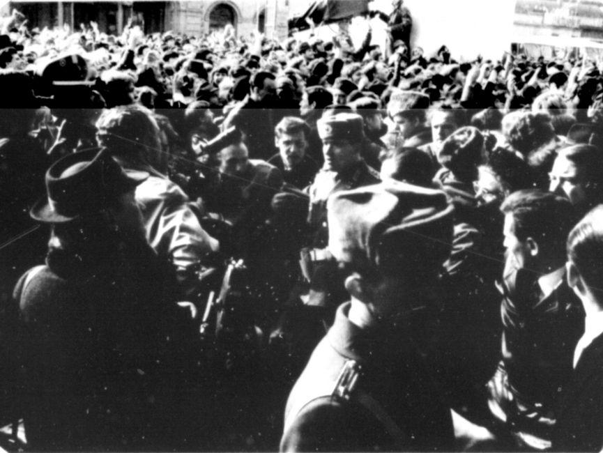 Einsatzkräfte von Volkspolizei und der Stasi versuchten die Ordnung wieder herzustellen.