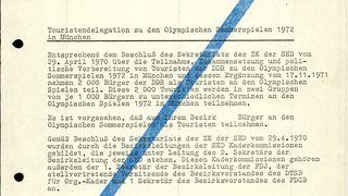 Befehl Erich Mielkes zur Zusammenstellung der Touristendelegation