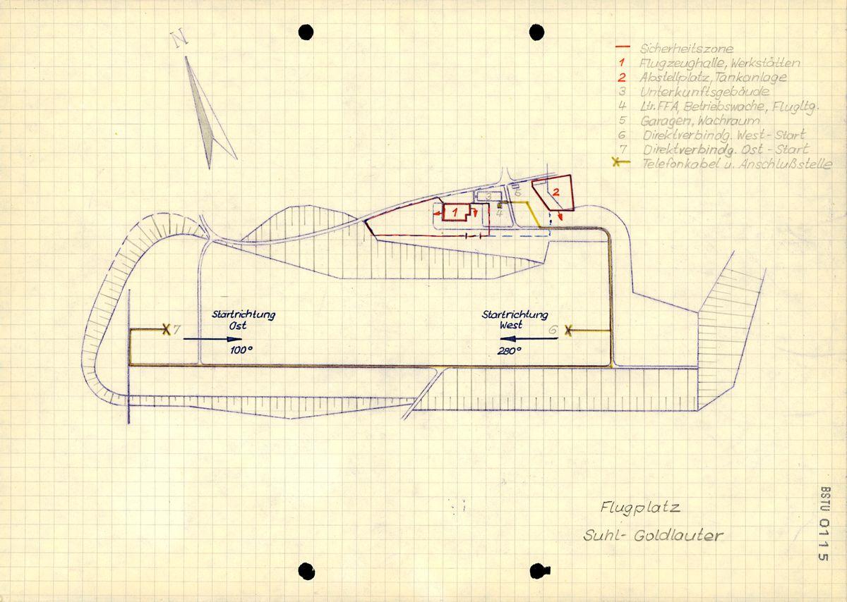 Skizze des Flugplatzgeländes Suhl-Goldlauter