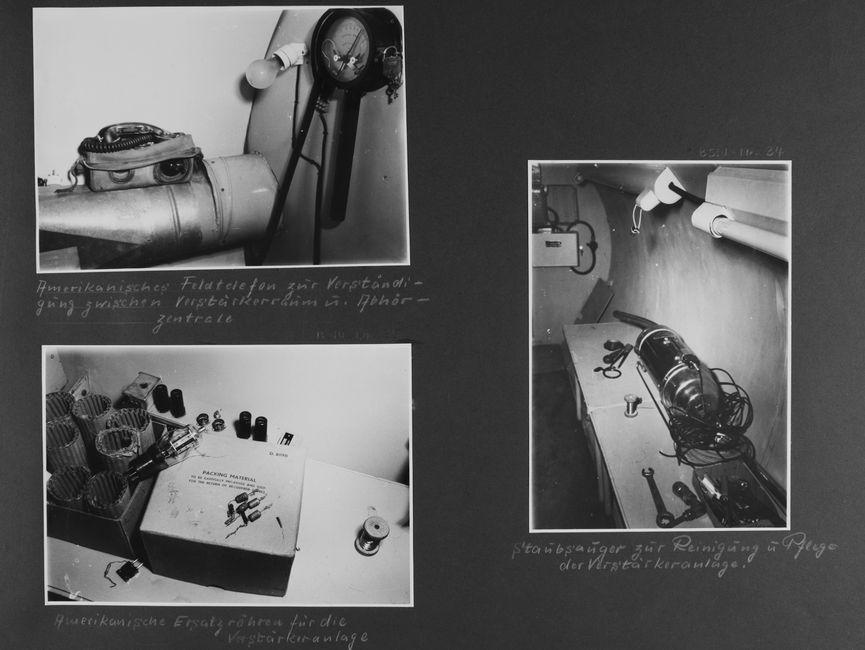 [Bild 1: Auf einer Metallröhre steht ein Feldtelefon. Sie ist direkt vor einer abgerundeten Wand angebracht, rechts mündet sie in eine weitere Wand, an der ein Hygrometer und eine Glühlampe in einer Fassung befestigt sind.] [handschriftliche Ergänzung: Amerikanisches Feldtelefon zur Verständigung zwischen Verstärkerraum u. Abhörzentrale]  [Bild 2: Auf einem Tisch wurde ein geöffneter Karton mit Ersatzröhren fotografiert. In dem Karton stecken einige Röhren aus Wellkartonpappe, der Deckel liegt daneben und ist in Englischer Sprache beschriftet.] [handschriftliche Ergänzung: Amerikanische Ersatzröhren für die Verstärkeranlage]  [Bild 3: Auf einem Tisch wurde vor einer Wand ein Handstaubsauger abgelegt. Davor sind noch vereinzelte Werkzeugteile sowie eine Drahtspule zu sehen.] [handschriftliche Ergänzung: Staubsauger zur Reinigung u. Pflege der Verstärkeranlage.]