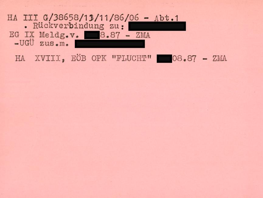 [Zu sehen ist die Rückseite des roten 'Formablatts 401 mit Hinweisen zu der betroffenen Person.] HA III G/38658/13/11/86/06 - Abt.1 - Rückverbindung zu: [anonymisiert] EG IX Meldg.v. [anonymisiert].08.87 - ZMA - UGÜ zus.m. [anonymisiert]  HA XVIII, EÖB OPK 'Flucht' [anonymisiert].08.87 - ZMA
