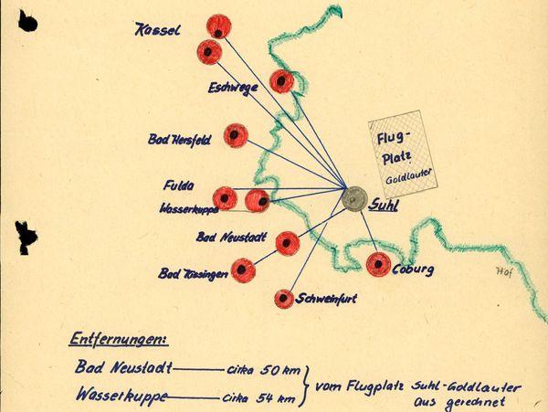 Eine Karte des MfS zeigt die Sport-Flugplätze der BRD im grenznahen Raum, teilweise nur 54 Kilometer Luftlinie vom Flugplatz Suhl-Goldlauter entfernt.