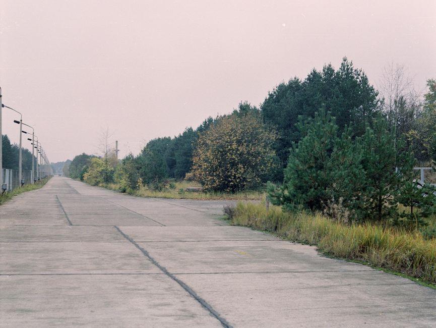 Das bild zeigt eine aus Betonplatten errichtete Straße. Links davon befindet sich ein Zaun mit aufgereihten Straßenlampen. Rechts davon befindet sich Vegetation.