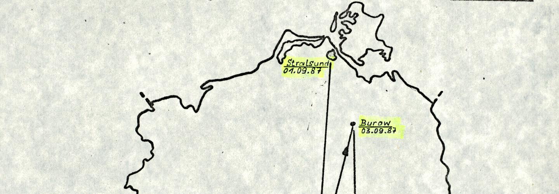 Übersicht zum Streckenverlauf des Olof-Palme-Friedensmarsches in der DDR.