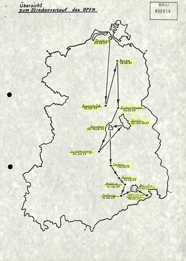 Die Karte zeigt den zeitlichen Streckenverlauf des Olof-Palme-Friedensmarsches in der DDR