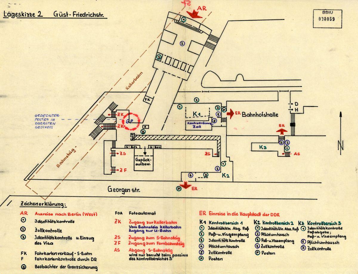 MfS-Skizze der Grenzübergangsstelle (Güst) Friedrichstraße