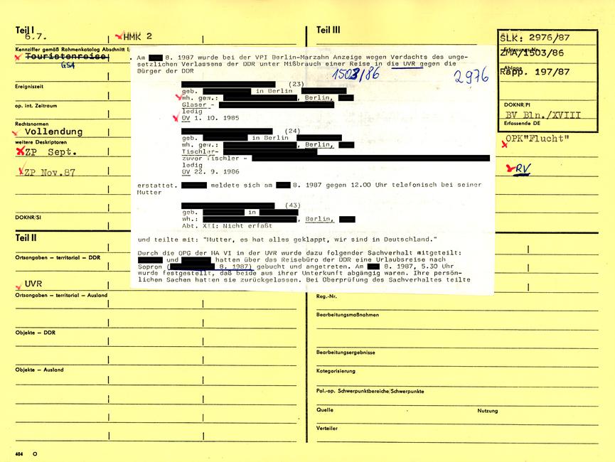 [Mittels der Sichtlochkartei-Nummer zugänglich kann das gelbe 'Formblatt 404' in DIN A 4, neben den Personengrunddaten, stichwortartige Hinweise zum Grund der Erfassung, deren Rechtsnorm sowie örtliche und zeitliche Angaben des Vorkommnisses notiert haben. Erneut sind weitere Erfassungen und Ablage-Nummern vorzufinden. Im Falle der resultierenden 'operativen Bearbeitung' wären hier auch u.a. Vorgangsart, Registrier-Nummer und die Verantwortlichkeiten eingetragen worden. An diesem Beispiel der ZKG sind zwei weiße Zettel hintereinander mittig auf die Dokumentenkartei aufgeklebt. Der Text des oberen Blattes:]  Am 18.08.1987 wurde bei der VPI Berlin-Marzahn Anzeige wegen Verdachts des ungesetzlichen Verlassene der DDR unter Mißbrauch einer Reise in [unterstrichen: die UVR] gegen die Bürger der DDR  [anonymisiert] (23) geb. [anonymisiert] in Berlin [anonymisiert]. wh. gew.: [anonymisiert], Berlin Glaser - [anonymisiert] ledig ÜV 01.10.1985  [anonymisiert] (24) geb. [anonymisiert] in Berlin [anonymisiert] wh. gew.: [anonymisiert] Tischler- [anonymisiert] zuvor Tischler - [anonymisiert] ledig DV 22.09.1986  erstattet. LABIAN meldete sich am 17.08.1987 gegen 12.00 Uhr telefonisch bei seiner Mutter  [anonymisiert] (43) geb. [anonymisiert] in [anonymisiert] wh.: [anonymisiert] Berlin Abt. XII: Nicht erfaßt  und teilte mit: 'Mutter, es hat alles geklappt, wir sind in Deutschland.'  Durch die OPG der HA VI in der UVR wurde dazu folgender Sachverhalt mitgeteilt: [anonymisiert] und [anonymisiert] hatten über das Reisebüro der DDR eine Urlaubsreise nach Sopron [unterstrichen: ([anonymisiert] 08. 1987)] gebucht und angetreten. Am [anonymisiert] 08.1987, 5.30 Uhr wurde festgestellt, daß beide aus ihrer Unterkunft abgängig waren. Ihre persönlichen Sachen hatten sie zurückgelassen. Bei Überprüfung des Sachverhaltes teilte