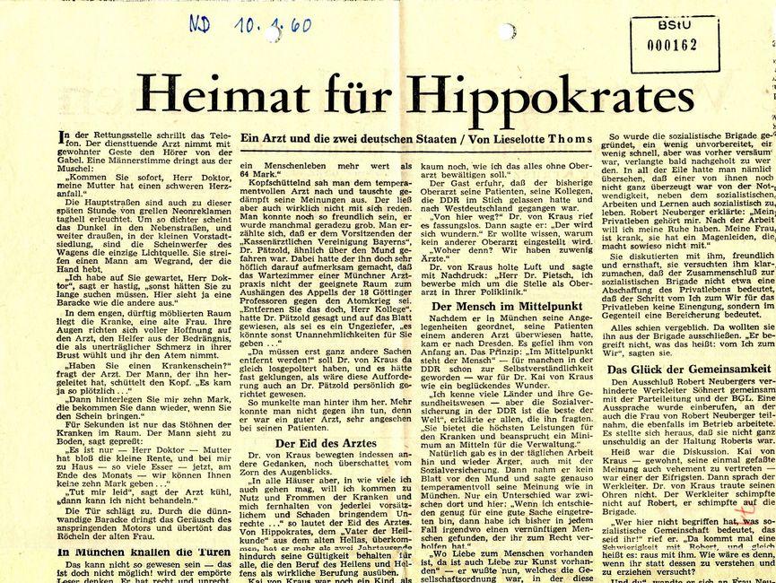 Das Bild zeigt einen Beitrag über Karl von Kraus im Neuen Deutschland.