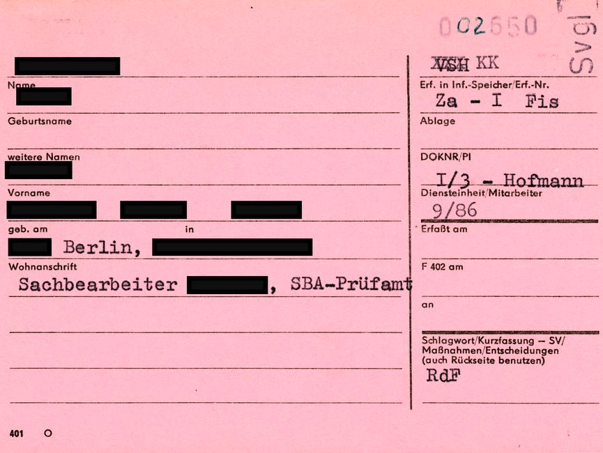 Rosa Karteikarte des Typs 'Formblatt 401', verwendet als VSH der Hauptabteilung XIX, Abteilung 1