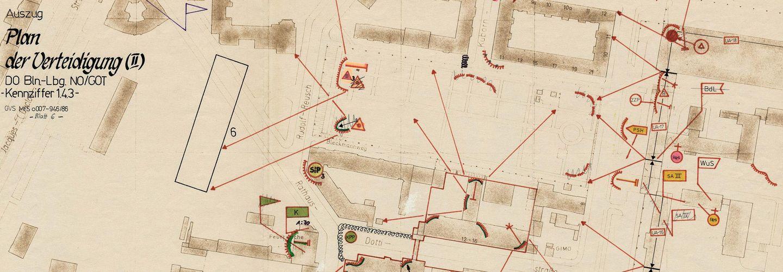 'Plan der Verteidigung' für den Bereich rund um das Tor Ruschestraße am 'Dienstobjekt Berlin-Lichtenberg', der Stasi-Zentrale, vom 4.April 1986