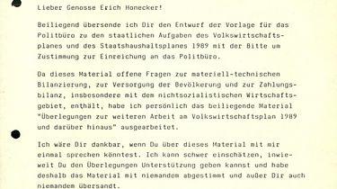 Schreiben Gerhard Schürers an Erich Honecker